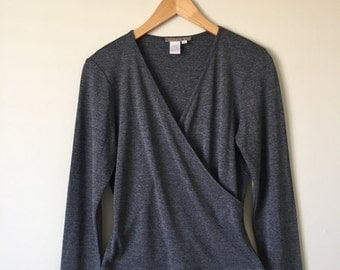 Vintage Grey Cross Front Long Sleeve Top Size Small, Wrap Top
