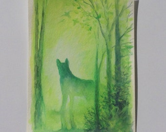 Small Acrylic Wolf Painting Mystical Dog Art Green Forest Nature Magical Landscape