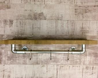 Oak pipework shelf ,industrial shelving , bookcase , shelf , shelving , kitchen hanging rail , kitchen shelving , storage , shelving unit