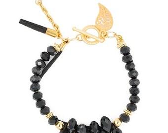 Bracelet leather black, drops beads, T lock, leaf pendant