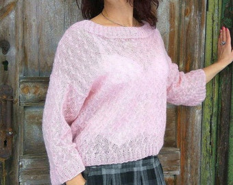 Light Pink Sweater, Loose Mohair Sweater, Handknitted Pullover, Pale Pink Sweater, Sheer Mohair Jumper,  Lightweight Pullover, Gift For Her