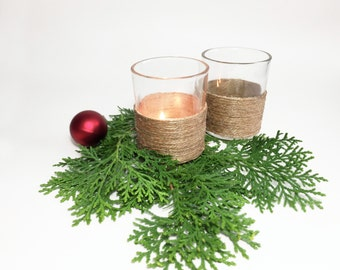 Votive Candle Holders, Rustic Candle Holder, Rustic Home Decor, Rustic Wedding Decor, Country Decor, Table Decor, Jute Twine Candle Holder