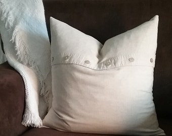 A beautiful two-sided Button pillow cover, 18X18, Upcycled, recycled, repurposed, neutral, home decor, colorblock, beige pillow cover