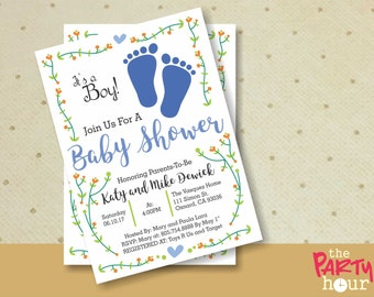 Printable Baby Shower Invitation boy - It's a Boy Baby Shower Invitation - Personalized Baby Shower Invitation Boy - Footprints Baby Shower