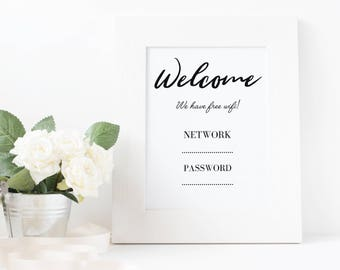 Welcome Wifi Sign, Wifi Password Printable, Guest Room, AirBnB, Bed&Breakfast, Home Decor, Download, Digital Print, Wall Art