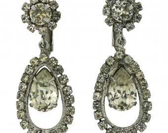 Napier 1950s Silver Tone Diamante Vintage Earrings
