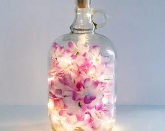 Bottle Light, Floral Bottle Lamp, Pink Fairy Lights, Gift For Her, Gift For Mum, Pretty Lights, Night Light, Girlfriend Gift, Unusual Gift