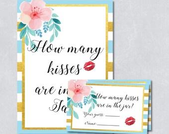 Guess how many kisses game, gold foil blue stripe, tropical floral, summer, bridal shower game, DIY Printable, INSTANT DOWNLOAD