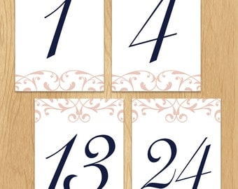 Custom Ornate Blush and Navy Wedding Reception Table Numbers