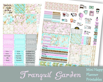 Tranquil Garden~Printable Mini MAMBI Happy Planner Stickers Weekly Kit For The Mini Happy Planner