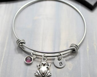 Frog Bangle Bracelet - Personalized Frog Jewelry - Frog Lover - Silver Frog - Tree Frog - Frog Themed Gifts