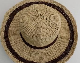 floppy hat, Cape, Sun Hat, woman, girl, 54 cm 56 cm, 58 cm, 60 cm, straw hat, natural, Brown, natural, handmade