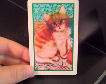 Kitten Cat with Yarn - (2) Single Swap Playing Cards - Paper Ephemera - Scrapbook - Altered Art