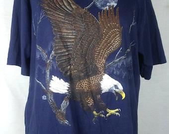 90s Bald Eagle Tshirt, Navy Blue, Vintage