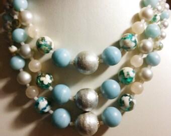 Vintage Multi Strand Blue Bead Necklace