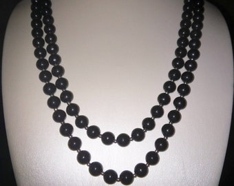 Long Strand Black Beads