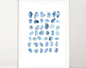 Minimalist Abstract Watercolor Print, Blue Watercolor Art Print, Blue Abstract Wall Print, Modern Art Print, Watercolor Print Shades of Blue