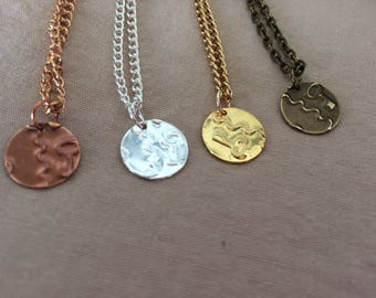 Disk Necklace - Key Necklace - Gear Necklace - Steampunk Necklace - Key Charm Necklace - Metal Emboss - Gold, Silver, Copper, Antique Gold
