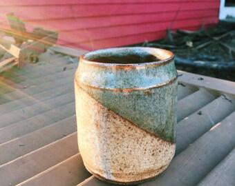Gold Dipped Short Ceramic Tumbler