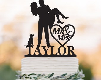 personalized Wedding Cake topper with dog, Groom Holding Bride cake topper with mr and mrs. cake topper with heart decor, funny cake topper