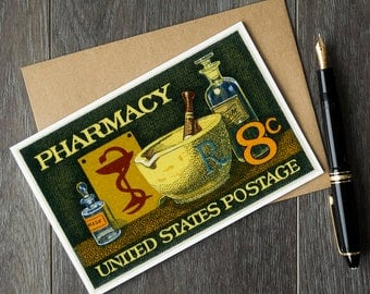 Pharmacy student, pharmacist gifts, vintage greeting cards, vintage cards, vintage gift cards, pharmacy posters, pharmacy art, doctor gifts