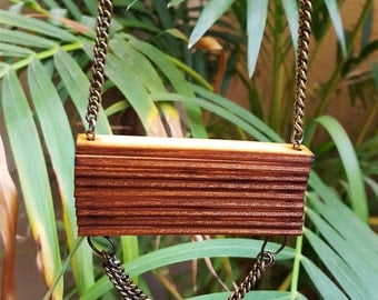 Wood Pendant on metal chain / Lazer Cut Wood Necklace / Laser Cut Wood Necklace / Wood Pendant / Statement Necklace / OOAK Wood Pendant