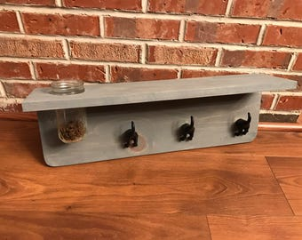 Decorative Wood Shelf, Display Shelf, Dog Leash Hook,