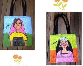 "Bag painted Tote hand on both sides, with original illustrations ""indigenous Wayuu and Kuna"", Colombian art"