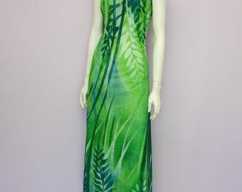 Vintage 70's green jungle print maxi dress // full length // corsage // Eur 38 / US 8 / UK 10