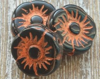 Czech Flower Beads, Black Beads, Czech Glass Beads, Bohemian Beads, Czech Picasso Beads, Bracelet Beads, 11mm Beads, Pack of 10