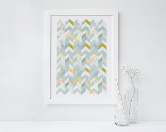 Scandi Arrow Pattern Modern Print A3