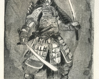 """Samurai"" original etching"