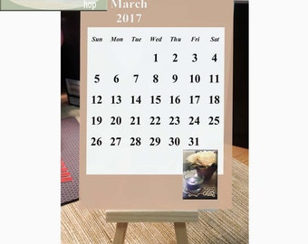 Mini calendar big numbers 2017 for desk, mini calendar, easel calendar, mini easel, desktop calendar, computer calendar, office calendar,