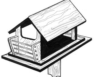 Bird Feeder #909 - Woodworking / Craft Pattern. Same Size, Outline Drawings. Trace and Create all Parts. No Enlarging or Reducing Necessary!