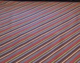 Flair by Gudrun Erla for Red Rooster Fabric, Brown, green, blue, black diagonal stripe, Quilt Fabric 100% Cotton