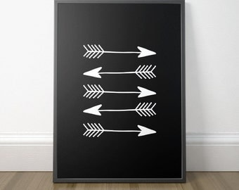 Gallery Wall Decor, Arrow Art, Modern Black and White Print, Minimalist Art, Printable Scandinavian Art, Instant Download, Digital Print