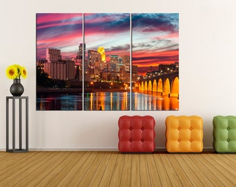 Minneapolis Skyline Canvas Print, extra large wall art print, Minneapolis canvas art, minneapolis wall decor, minneapolis print 5S49