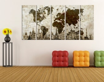 World Map Painting Etsy - Large world map painting