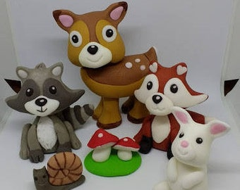 Woodland animals cake topper, handmade, edible