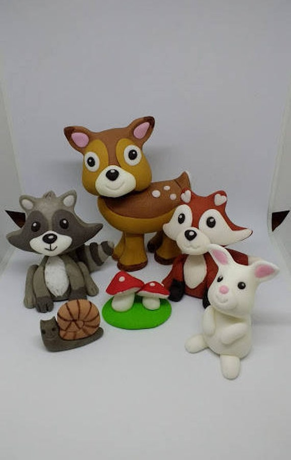 Woodland animals cake topper handmade edible