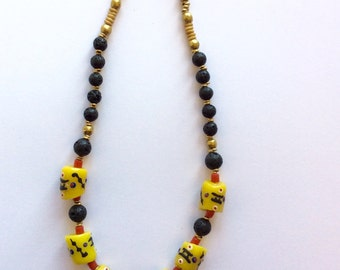 A lovely large yellow Handpainted Krobo beaded necklace