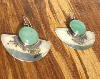 Navajo Sterling Silver and Aventurine Earrings