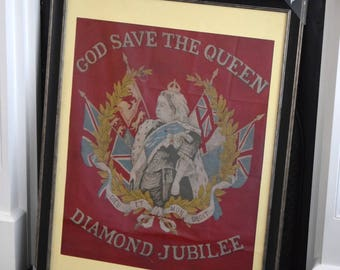 Rare,cotton,banner,Queen Victoria,flag,royal memorabilia,diamond jubilee,victoriana,framed flag,queen victoria flag
