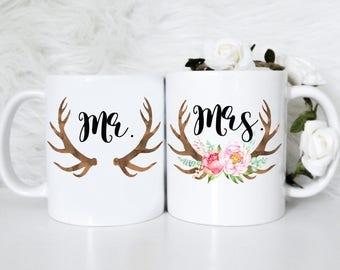 Mr. & Mrs. Mug Couple Set | Couple Mugs, Wedding Mug, Just Married Mug, Wedding Gift, Bridal Party, Newlywed Gift, Anniversary Gift, Mugs