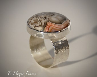 Crazy Lace Agate Sterling Silver Statement Ring