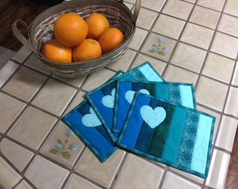 Quilted Mug Rugs in Aqua