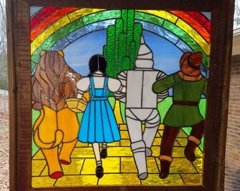 Wizard of Oz Yellow Brick Road Stained Glass Panel