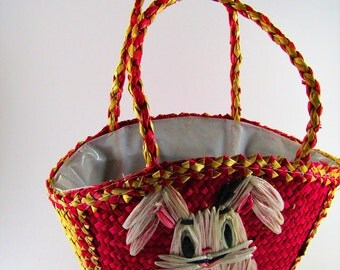 Vintage Easter Basket Woven Raffia Embroidery Easter Bunny Rabbit Tote