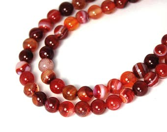 "Two 15"" strands Dark Red Striped Agate Beads 6mm"