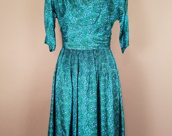 1950s Vintage Classic Teal Dress, Patterned Green and Blue Traditional Dress